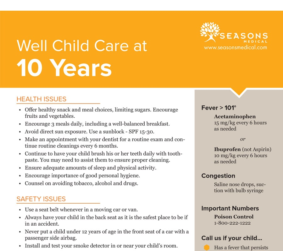 Well Child Care at 10 Years