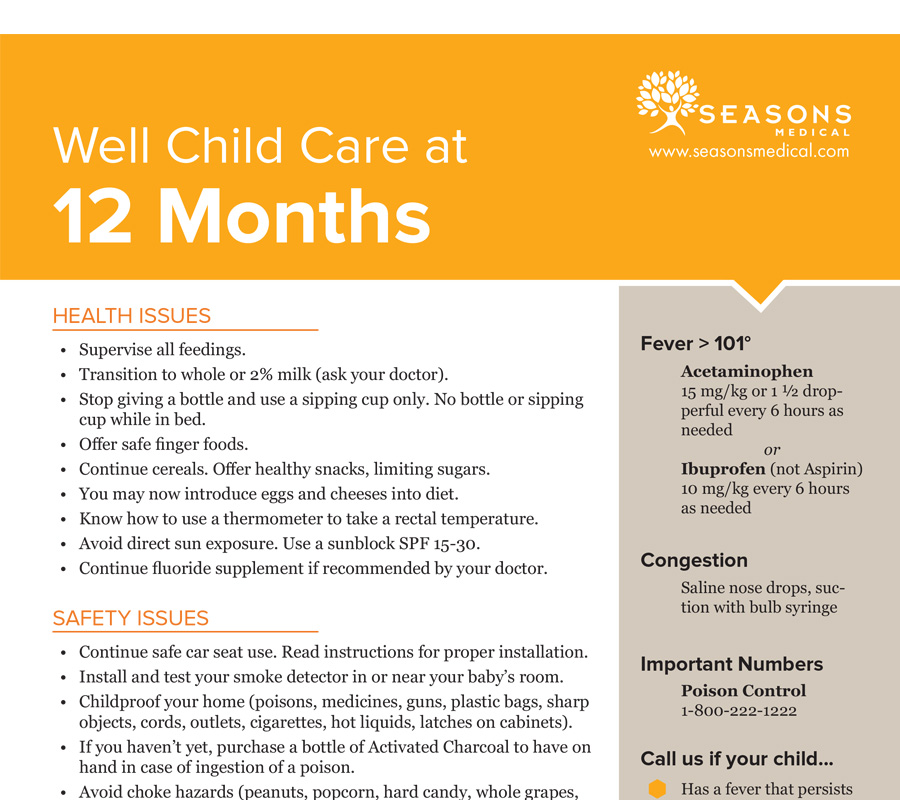 Well Child Care at 12 Months