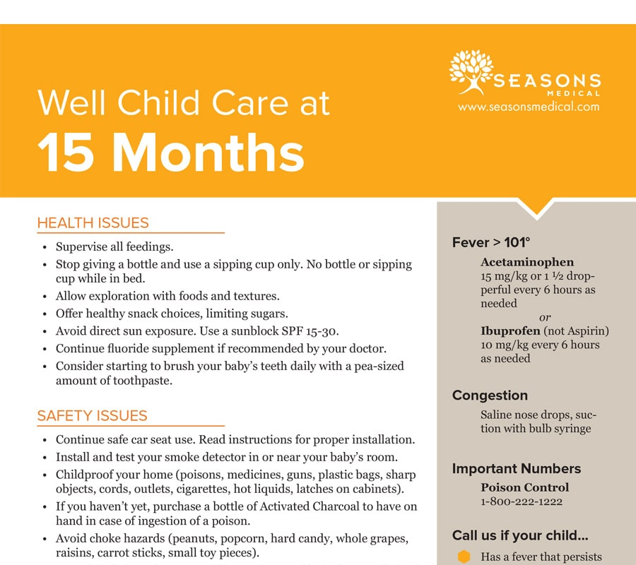 Well Child Care at 15 Months