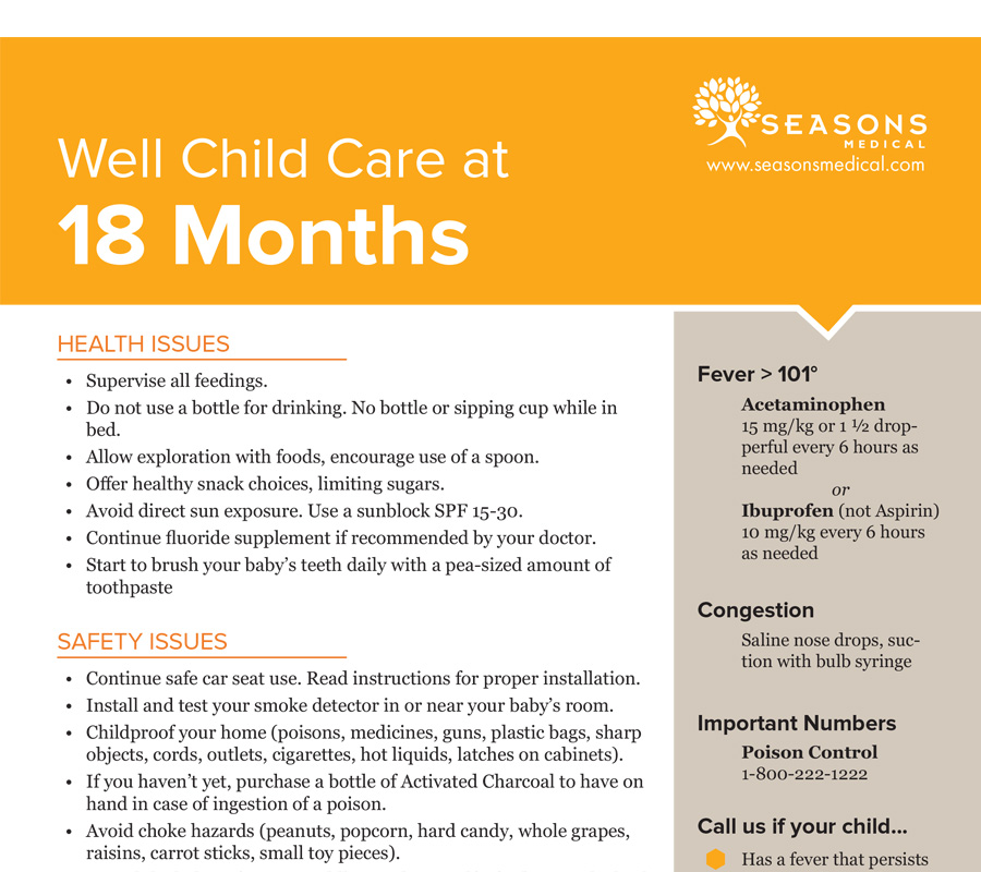 Well Child Care at 18 Months