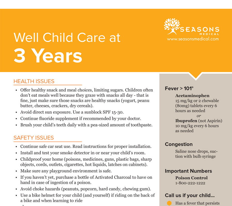 Well Child Care at 3 Years