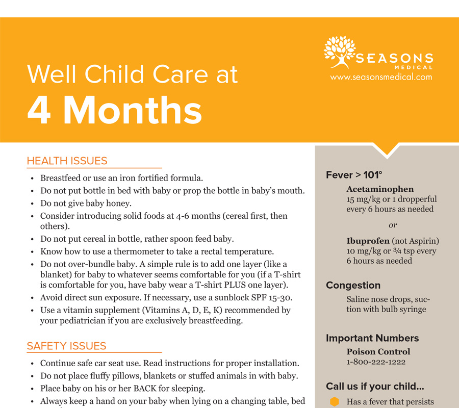 Well Child Care at 4 Months