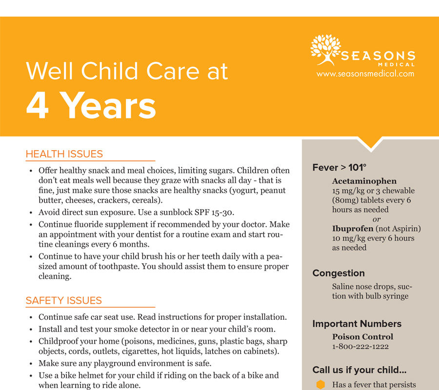 Well Child Care at 4 Years
