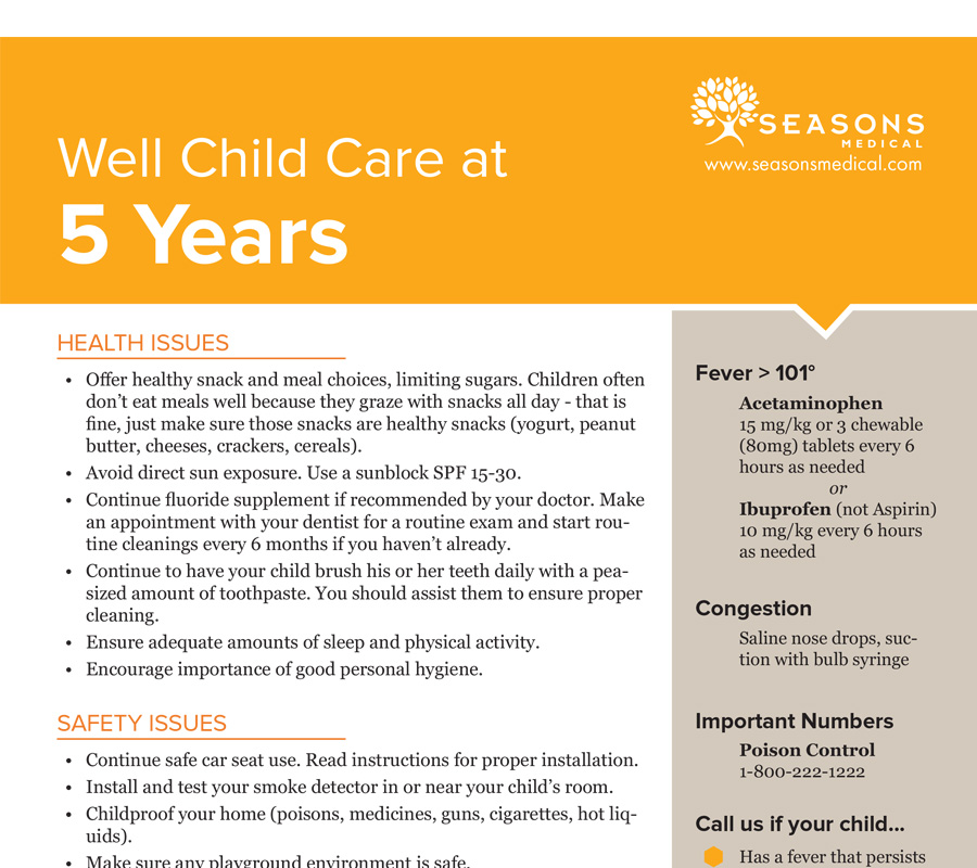 Well Child Care at 5 Years